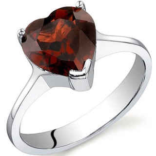 Oravo Sterling Silver Gemstone Heart Cut Solitaire Ring