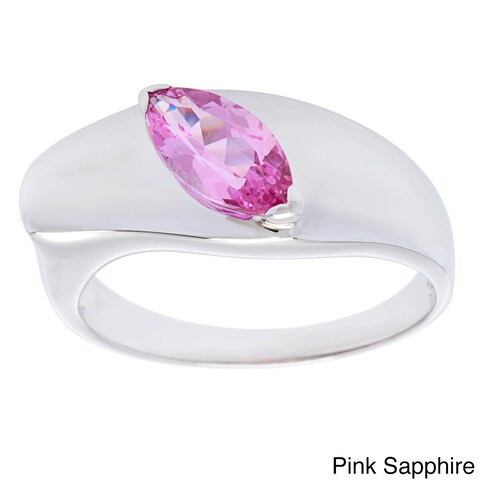 Oravo Sterling Silver Marquise-cut Gemstone Ring