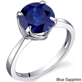Oravo Sterling Silver Round-cut Gemstone Solitaire Rhodium Finished Ring (More options available)