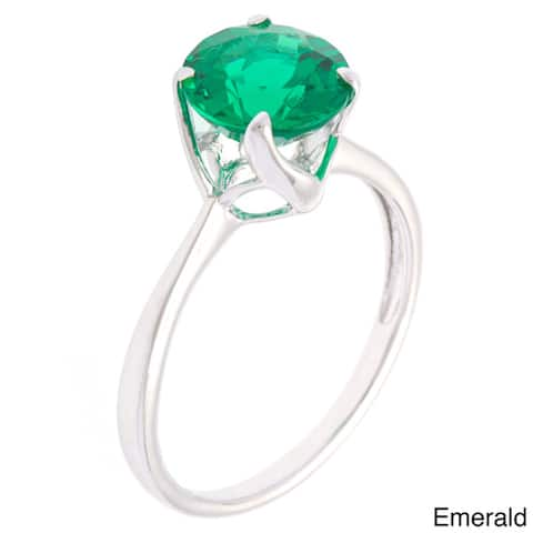 Oravo Sterling Silver Round-cut Gemstone Solitaire Rhodium Finished Ring