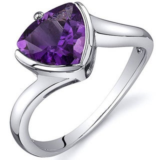 Oravo Sterling Silver Trillion Cut Gemstone Ring