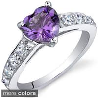 Oravo Sterling Silver Heart Gemstone and Cubic Zirconia Ring