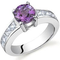 Oravo Sterling Silver Round-cut Gemstone and Square Cubic Zirconia Ring