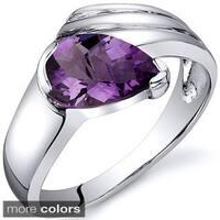 Oravo Sterling Silver Pear-cut Gemstone Rhodium Finished Ring