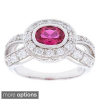 Oravo Sterling Silver Oval Gemstone and Cubic Zirconia Ring