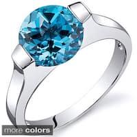 Oravo Sterling Silver Round-cut Gemstone Ring