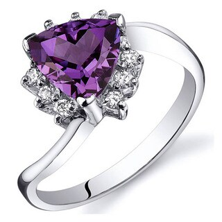 Oravo Sterling Silver Trillion Gemstone and Cubic Zirconia Ring