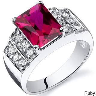 Oravo Sterling Silver Radiant Gemstone and Cubic Zirconia Rhodium Finished Ring