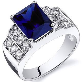 Oravo Sterling Silver Radiant Gemstone and Cubic Zirconia Rhodium Finished Ring|https://ak1.ostkcdn.com/images/products/9141880/P16323145.jpg?impolicy=medium