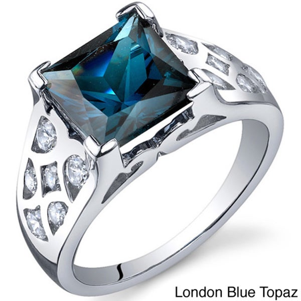 Oravo Sterling Silver Square Gemstone and Cubic Zirconia Rhodium Finished Ring