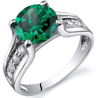 Sterling Silver Round Gemstone and Cubic Zirconia Ring (Option: Emerald)