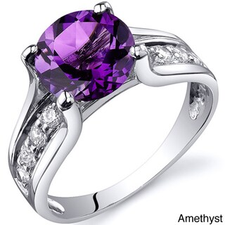 Sterling Silver Round Gemstone and Cubic Zirconia Ring (More options available)