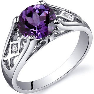 Oravo Sterling Silver Round Gemstone and Cubic Zirconia Ring (More options available)