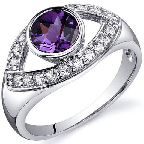 Oravo Sterling Silver Round-cut Bezel-set Gemstone and Cubic Zirconia Ring