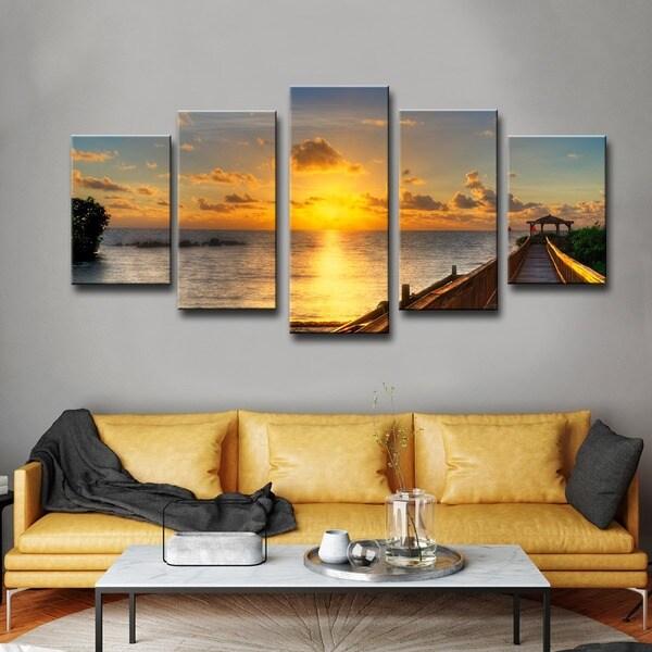 bruce bain 39 key 39 s sunrise 39 5 piece set canvas wall art free shipping today. Black Bedroom Furniture Sets. Home Design Ideas