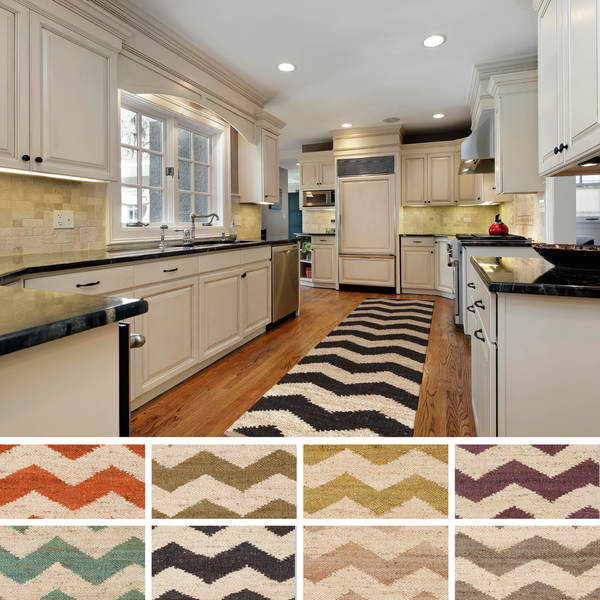 Chevron Kitchen Rug: Hand-Woven Henry Natural Jute Chevron Rug (2'3 X 8