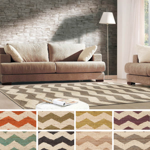 Hand-Woven Rosemary Natural Jute Chevron Rug