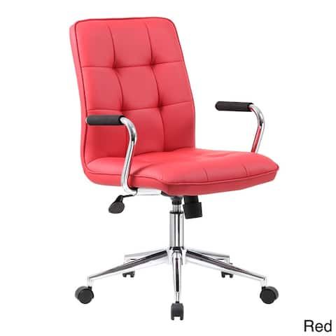 Porch & Den Moreland Modern Chrome Faux Leather Office Chair