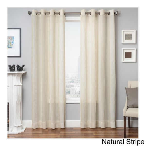 Herald linen semi sheer grommet top curtain panel free shipping on
