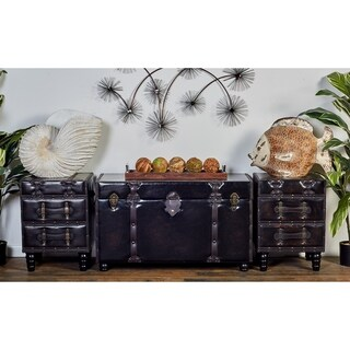 3-piece Leather-covered Wood Trunk Set