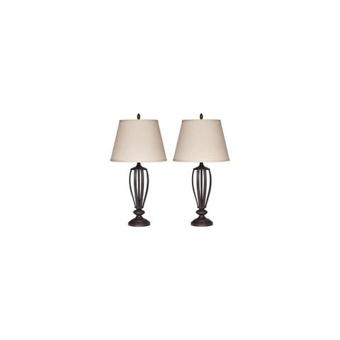 Mildred Bronzetone 30 Inch Metal Table Lamps - Set of 2