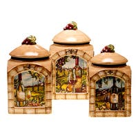 Certified International Tuscan View Lead-free 3-piece Ceramic Canister Set