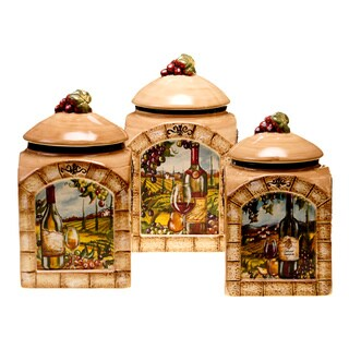 Tuscan View Lead-free 3-piece Ceramic Canister Set