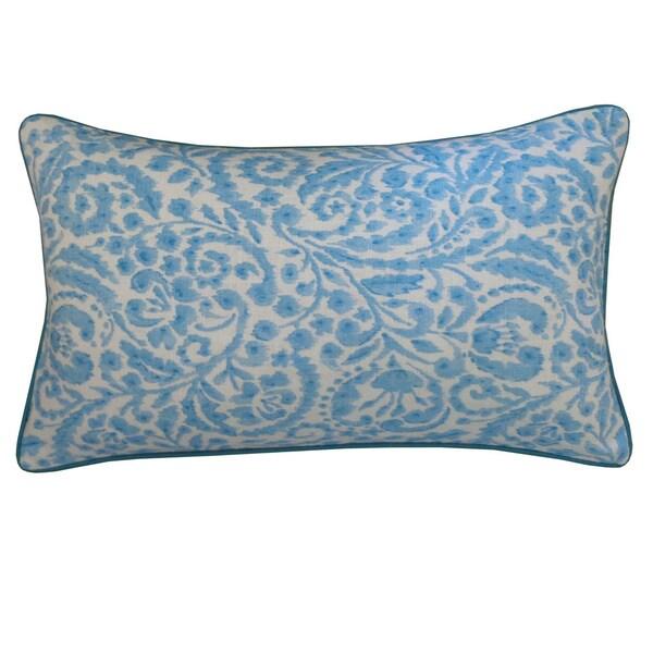 "Handmade Amigo Turquoise Floral Pillow - 12"" x 20"""