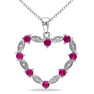 Miadora Sterling Silver Created Ruby and Diamond Heart Necklace