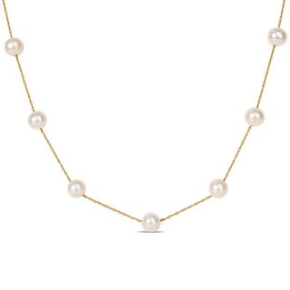 Miadora 10k Yellow Gold White Freshwater Pearl Tin Cup Necklace (7.5-8 MM)