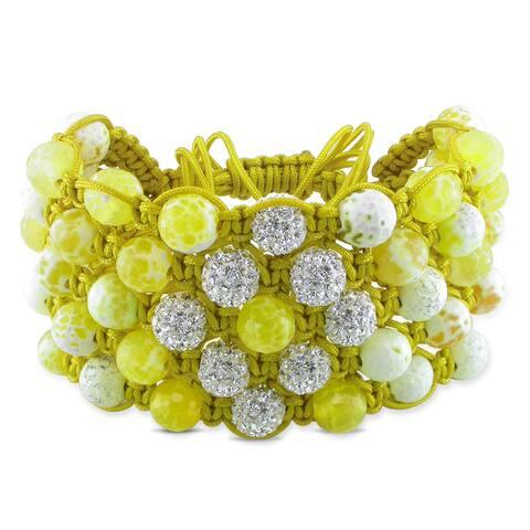 Miadora Yellow Agate and White Cubic Zirconia Bracelet