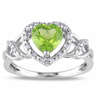 Miadora Silver Peridot and 1/10ct TDW Diamond Heart Ring (H-I, I2-I3)