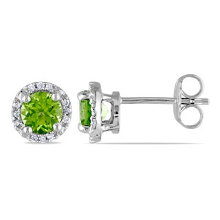 Miadora Sterling Silver 1 1/8ct TGW Peridot and Diamond Accent Stud Earrings
