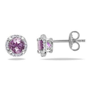 Miadora Silver Amethyst and Diamond Accent Stud Earrings