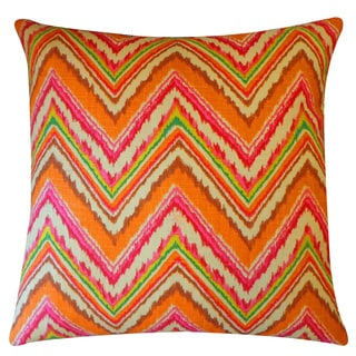 Ice Pink Orange Zig-Zag 20x20-inch Pillow