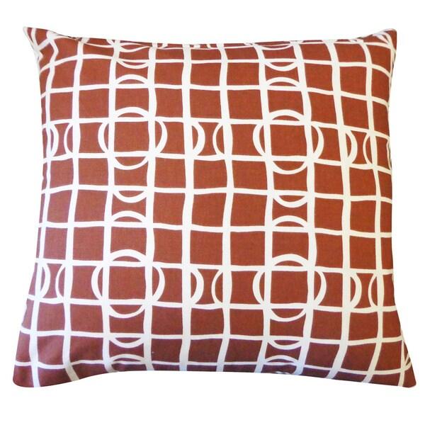 "Handmade Planet Brown Geometric Pillow - 20"" x 20"""