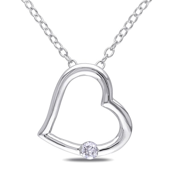 Miadora Sterling Silver Diamond Accent Heart Necklace