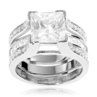 Journee Collection Sterling Silver Cubic Zirconia Bridal-style Ring Set