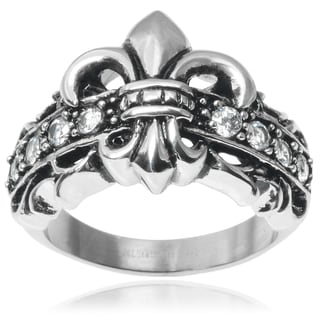 Vance Co. Men's Stainless Steel Cubic Zirconia Fleur-de-lis Ring
