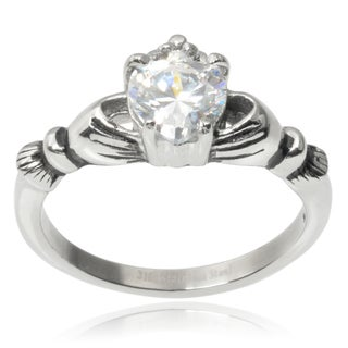 Journee Collection Stainless Steel Cubic Zirconia Claddagh Ring