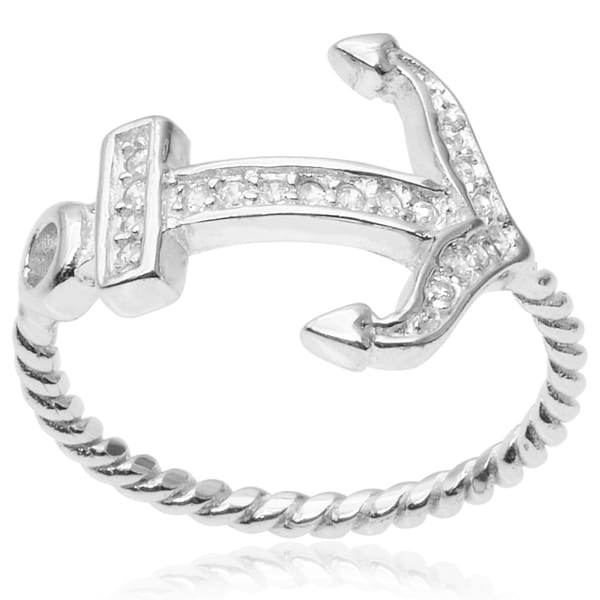 Journee Collection Sterling Silver Cubic Zirconia Anchor Ring