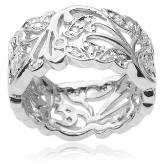 Journee Collection Sterling Silver Cubic Zirconia Band (9mm)