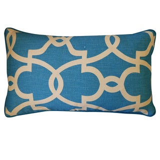 Dean Turquoise Cream Geometric 12x20-inch Pillow