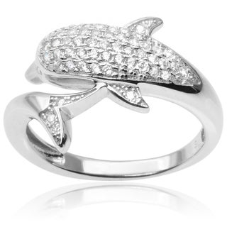 Journee Collection Sterling Silver Cubic Zirconia Dolphin Ring