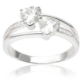 Journee Collection Sterling Silver Cubic Zirconia Double Heart Ring