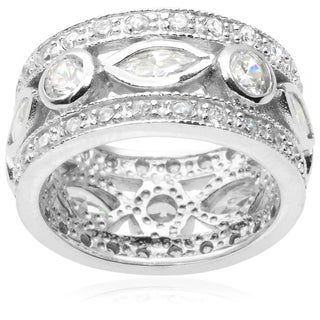 Journee Collection Sterling Silver Cubic Zirconia Band (10mm)