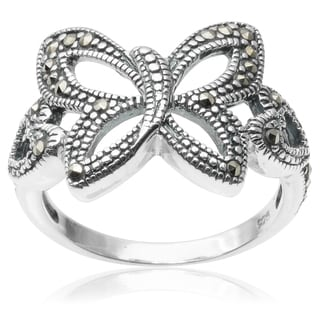 Journee Collection Sterling Silver Marcasite Butterfly Ring