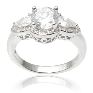 Journee Collection Sterling Silver Cubic Zirconia Wedding Ring