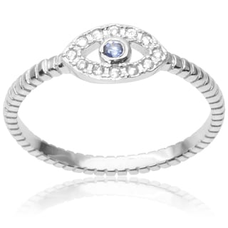 Journee Collection Sterling Silver Cubic Zirconia Evil Eye Ring