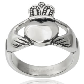 Vance Co. Men's Stainless Steel Claddagh Ring